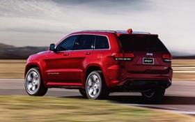 Обои авто, красный, внедорожник, в движении, SRT, Jeep, Grand Cherokee