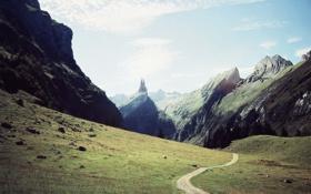 Обои дорога, замок, гора