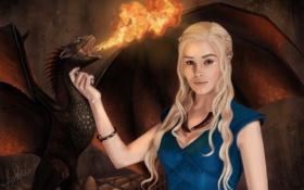 Картинка девушка, огонь, дракон, Песнь Льда и Огня, Daenerys Targaryen, Mother of Dragons, A Song Of ...