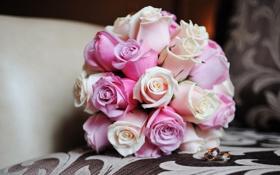 Картинка цветы, розы, букет, кольца, розовые, свадебный
