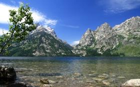 Обои США, камни, небо, озеро, горы, Grand Teton, Wyoming