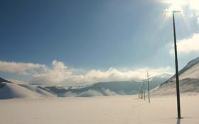 Картинка зима, поле, небо, снег, столбы