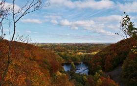 Картинка осень, лес, небо, облака, деревья, горы, природа