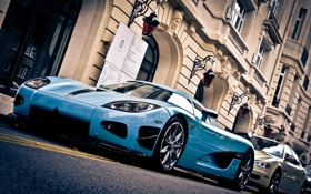 Обои Koenigsegg, Supercar, Quattroporte, Street, Building, Maserati, Blue