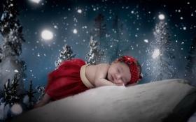Картинка зима, настроение, младенец