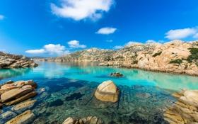 Обои камни, скалы, небо, облака, горы, озеро
