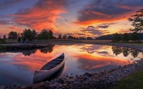Обои sunrise, color, reflection, canoe, toledo