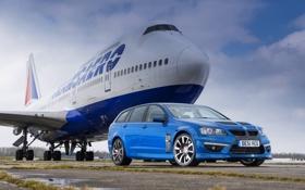Обои Синий, Самолет, Машина, Boeing, Vauxhall, VXR8, 747