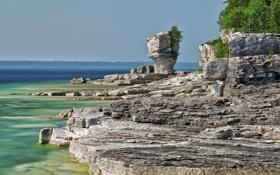 Картинка пейзаж, Канада, скалы, деревья, Онтарио, озеро, Bruce Peninsula National Park