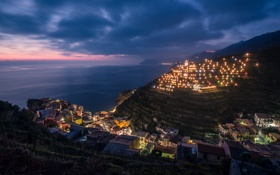 Обои Manarola, Italy, Lights