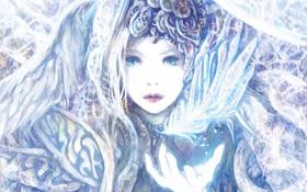 Обои девушка, свет, перо, рука, арт, komai haruki
