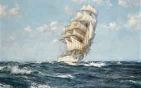 Обои море, рисунок, парусник, живопись, Montague Dawson