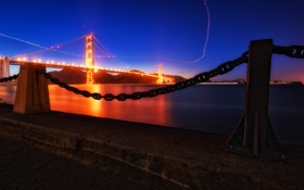 Обои ночь, мост, огни, Golden Gate Bridge