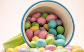 Обои макро, конфеты, кружка, разноцветные