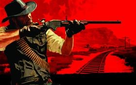 Обои дорога, Red Dead Redemption, John Marston, Джон Марстон, Америке, XX века