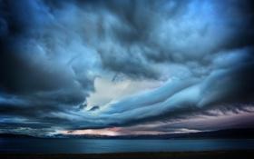 Картинка небо, горы, тучи, океан, берег, Шторм, Исландия