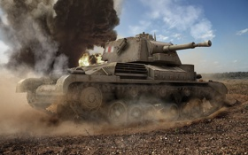Обои tank, пыль, танк, танки, Великобритания, World of Tanks, Wargaming.Net