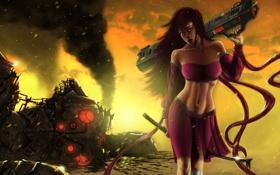 Обои девушка, оружие, фантастика, робот, меч, катана, платье