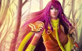 Картинка девушка, стрела, Охотница, косы, розовые волосы