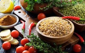 Картинка перец, рис, помидоры, имбирь, бобы, куркума, чабрец