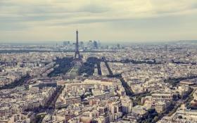 Обои небо, Франция, Париж, здания, горизонт, Эйфелева башня, skyline