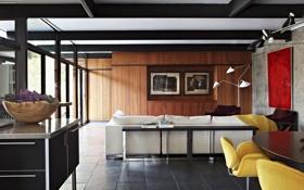 Картинка цветы, стол, диван, интерьер, освещение, кресла, картины