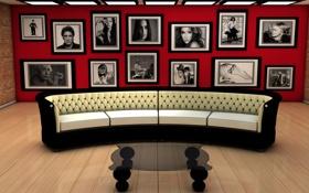 Картинка sofa, living, arquitectura, sillon, cuadros, habitación
