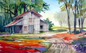 Обои пейзаж, дом, картина, акварель