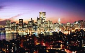 Обои ночь, город, огни, река, обои, небоскребы, нью-йорк