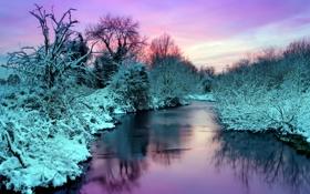 Картинка зима, пейзаж, природа, река