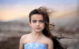 Картинка глаза, взгляд, лицо, ветер, волосы, платье, девочка