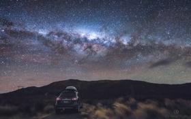 Обои небо, трава, ночь, красота, звёзды, автомобиль, photographer