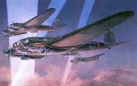 Обои небо, лучи, война, рисунок, бомбардировщики, самолёты, ночные