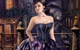 Картинка девушка, ночь, город, река, платье, арт, канал