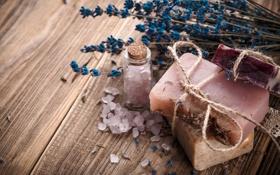 Картинка лаванда, морская соль, мыло