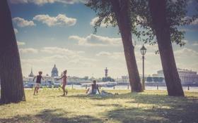 Картинка лето, дети, отдых, Петербург, Заячий остров