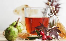 Обои листья, чай, шиповник, сладости, каштан