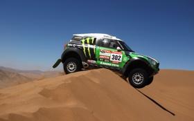 Обои Небо, Зеленый, Mini Cooper, Dakar, Ралли, MINI, Мини Купер