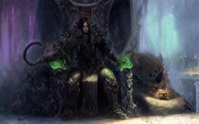 Обои магия, монстр, арт, рога, парень, красные глаза, трон