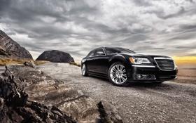 Обои скалы, Chrysler300, нбо, дорога, гравий