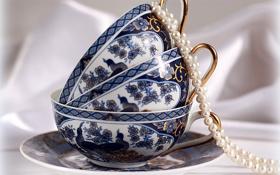 Обои настроение, голубое, утро, чашка, жемчуг, натюрморт, синее
