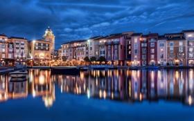 Обои огни, здания, дома, лодки, ночной город, Orlando, Florida