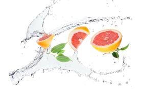 Обои вода, брызги, белый фон, Грейпфрут, литики