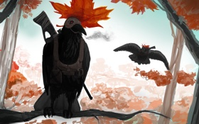 Обои осень, лес, птица, листок, ветка, ружье, ворон