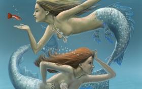 Обои рыбка, под водой, Русалки, пузыри, украшения
