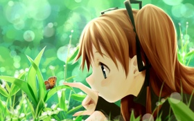 Обои лето, трава, бабочка, аниме, девочка