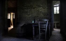Обои стол, дверь, стул