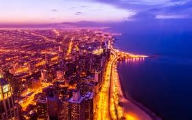 Обои Америка, Небоскребы, Высота, Здания, Иллинойс, Ночь, Chicago