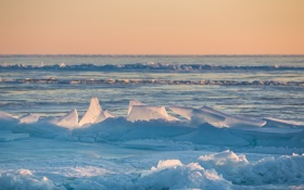 Обои лед, небо, снег, пейзаж, закат, льдины