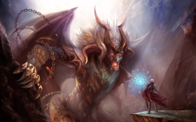 Картинка скалы, магия, монстр, арт, рога, мужчина, пещера